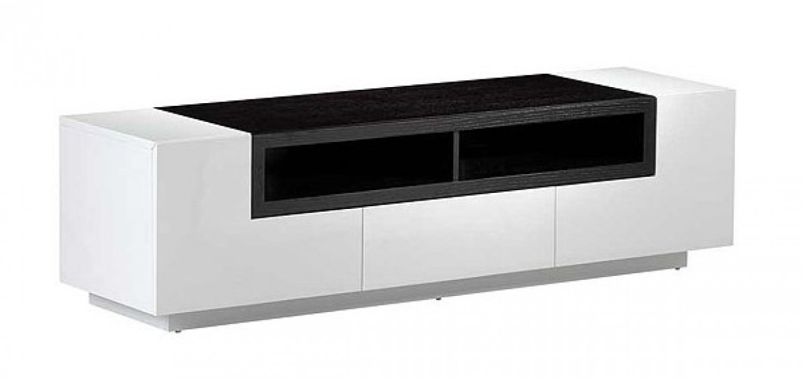 Brilliant Series Of White Gloss TV Stands Intended For White Gloss Dark Oak Modern Wall Unit Tv Stand (Image 13 of 50)