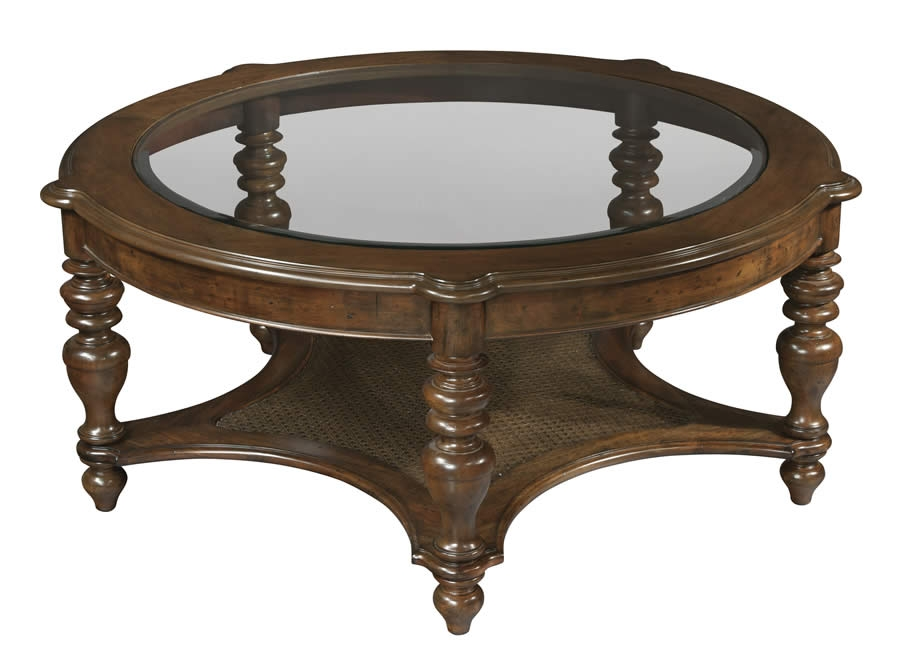 Brilliant Top Antique Glass Top Coffee Tables Intended For Hekman Vintage European Round Glass Top Coffee Table With Shelf (View 48 of 50)