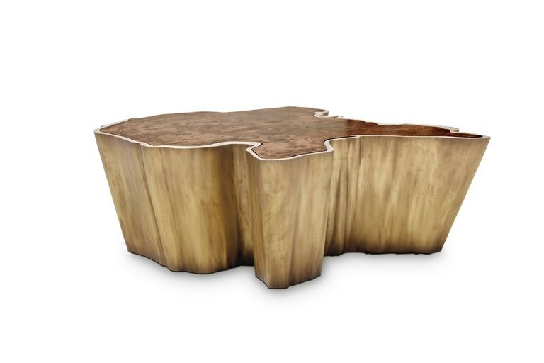 Brilliant Top Grey Coffee Tables Pertaining To Brabbu Walnut And Brass Organic Modern Coffee Table Fifty Shades (View 16 of 50)