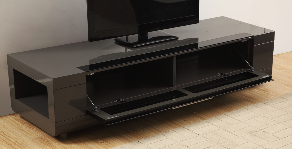 Brilliant Top Grey TV Stands Within B Modern Editor Remix Mini Tv Stand Grey High Gloss B Modern (Image 17 of 50)