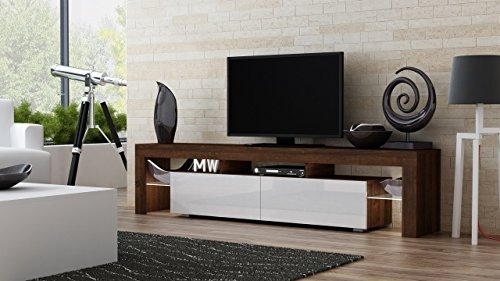 Brilliant Top Led TV Cabinets Pertaining To Stand Milano 200 Walnut Line Modern Led Tv Cabinet Living Room (Image 12 of 50)