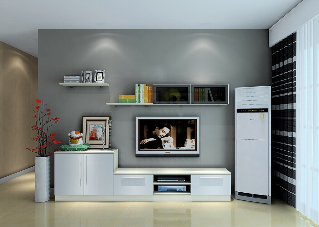 Brilliant Top Living Room TV Cabinets In Modern Living Room Air Conditioner And Tv Cabinet Combination 3d (Image 9 of 50)
