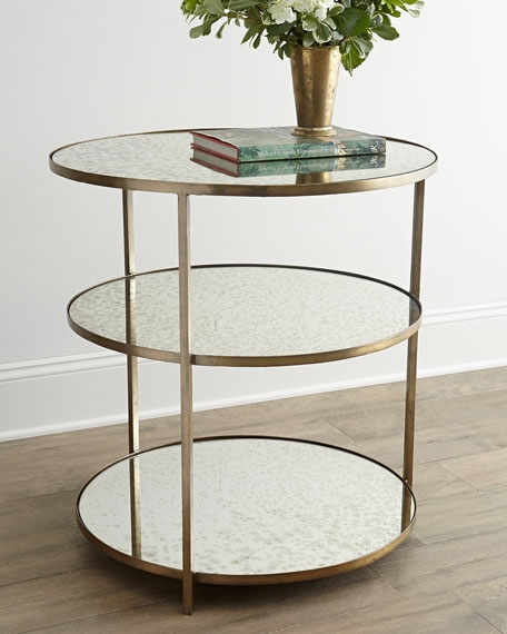Brilliant Top Oval Mirrored Coffee Tables Pertaining To Arteriors Whitney Mirrored Side Table (Image 13 of 50)