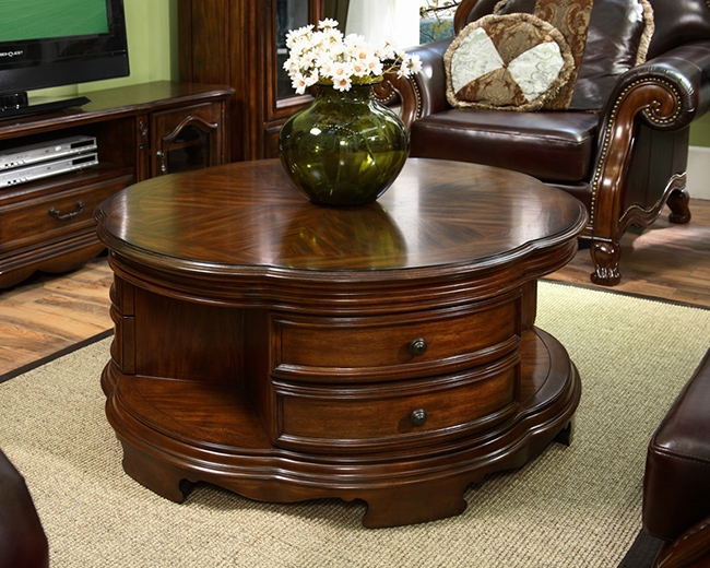 Brilliant Top Round Coffee Tables With Drawers Intended For Round Table With Drawers Starrkingschool (View 13 of 50)