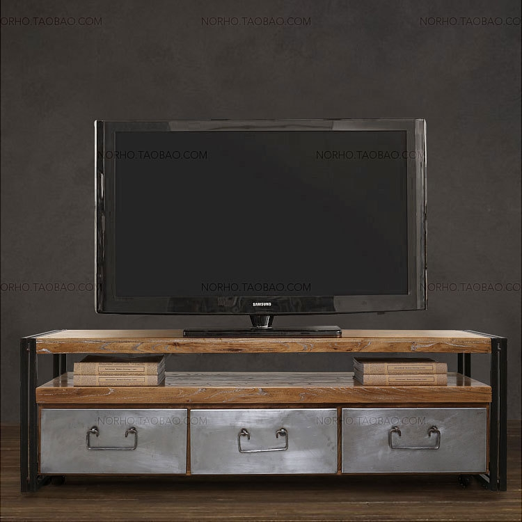 Brilliant Top Vintage Industrial TV Stands Regarding Vintage Industrial Tv Stand Reclaimed Wood Steel Leecowen (Image 13 of 50)
