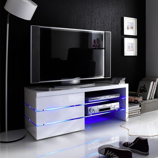 Brilliant Top White High Gloss Corner TV Stands Within Sonia Tv Stand In White High Gloss With Glass And Led  (Image 10 of 50)