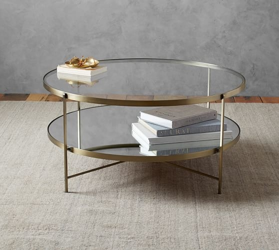 Brilliant Trendy Antique Glass Pottery Barn Coffee Tables Throughout Leona Round Coffee Table Pottery Barn (Image 13 of 50)