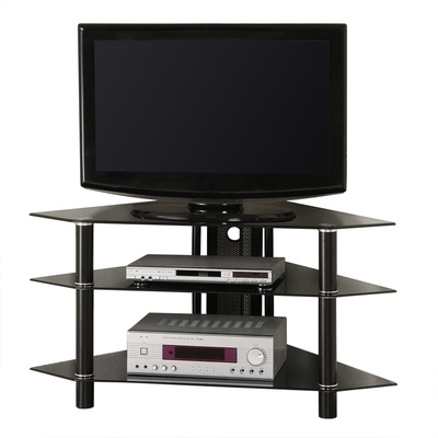 Brilliant Trendy Cordoba TV Stands Intended For Bermuda 44 Corner Glass Tv Stand Black (Image 11 of 50)