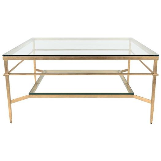 Brilliant Trendy Iron Glass Coffee Table With Gold Frame Glass Coffee Table (View 49 of 50)