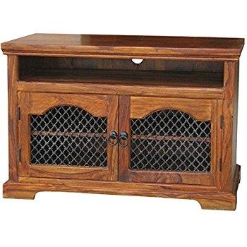Brilliant Trendy Jali TV Cabinets Within Jali Sheesham Corner Tv Cabinet Furniture Amazoncouk Kitchen (View 38 of 50)