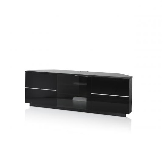 Brilliant Trendy White Gloss Corner TV Stands Pertaining To Corner Tv Stand In Black With Glass And Gloss Doors (Image 7 of 50)