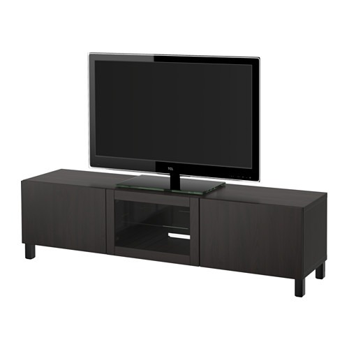 Brilliant Unique Black TV Stands With Glass Doors Pertaining To Best Tv Unit With Drawers And Door Lappviken Black Brown Clear (Image 10 of 50)