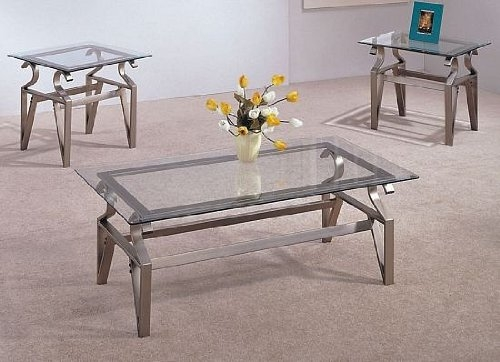 Brilliant Unique Coffee Tables Metal And Glass Regarding Amazon 3 Piece Coffee Table Set Glass Tops Coffee Table (Image 10 of 40)