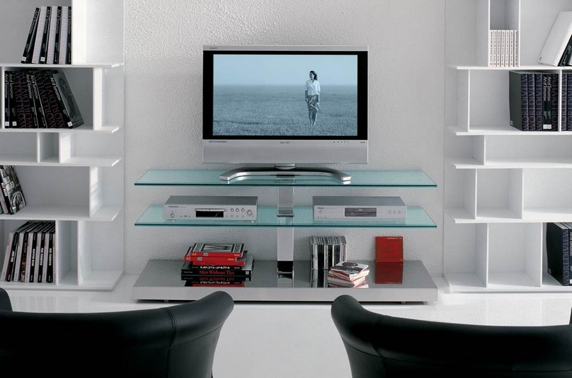 Brilliant Unique Glass TV Cabinets For Tv Stands Outstanding Flat Screen Tv Tables For Small Room Decor (Image 17 of 50)