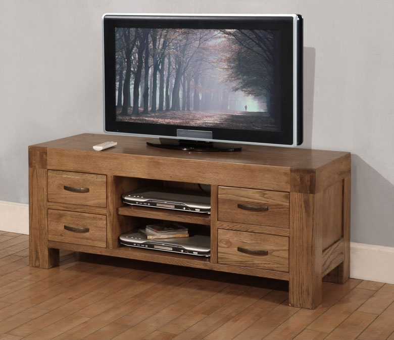 Brilliant Unique Large Oak TV Cabinets In Santana Oak Tv Unit With 4 Drawers (Image 18 of 50)