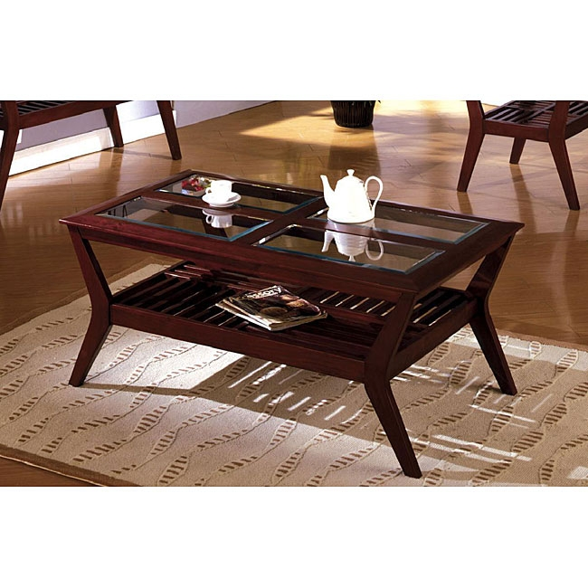 Brilliant Unique Oval Glass And Wood Coffee Tables In Modern Cherry Coffee Table Sets (Image 13 of 50)