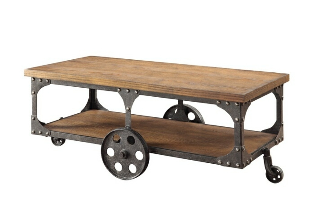 Brilliant Unique Rustic Coffee Table With Wheels Regarding Rustic Coffee Table With Wheels For Kitchen Tedxumkc Decoration (Image 13 of 50)