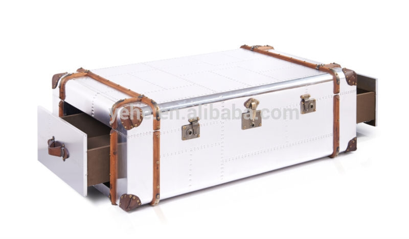 Brilliant Unique Steamer Trunk Stainless Steel Coffee Tables With Regard To Stainless Steel Trunk Coffee Table Szahomen (Image 12 of 50)
