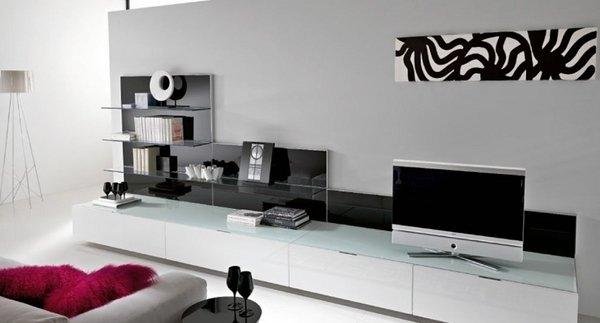 Brilliant Unique White And Black TV Stands Inside Furniture Small Room Design With Recangle Black Minimalist Tv (View 39 of 50)
