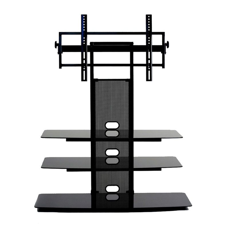 Brilliant Variety Of 65 Inch TV Stands With Integrated Mount Within Transdeco Black Glass Tv Stand With Integrated Flat Panel Mount (Image 13 of 50)