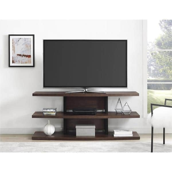 Brilliant Variety Of Black TV Stands Throughout Ameriwood Home Castling Espresso Black Tv Stand With Divided (Image 7 of 50)