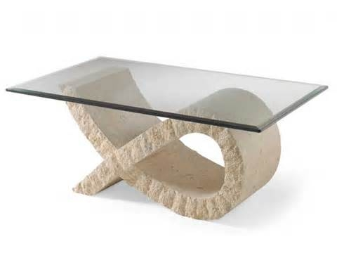Brilliant Variety Of Glass And Stone Coffee Table With Stone And Glass Coffee Table Modern Sculptured Base Coffee Table (Image 10 of 50)