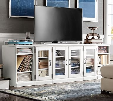 Brilliant Variety Of Long TV Stands Furniture Pertaining To Printers Long Low Media Stand Tuscan Chestnut Pottery Barn (Image 10 of 50)