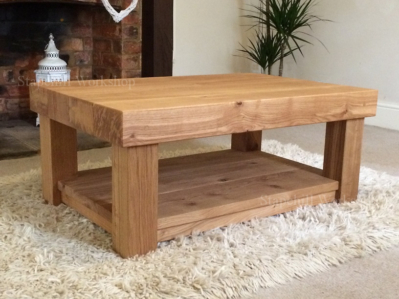 Brilliant Variety Of Oak Coffee Tables With Shelf Within Charming Solid Oak Coffee Table Modernist Solid Wood Coffee Table (Image 12 of 40)