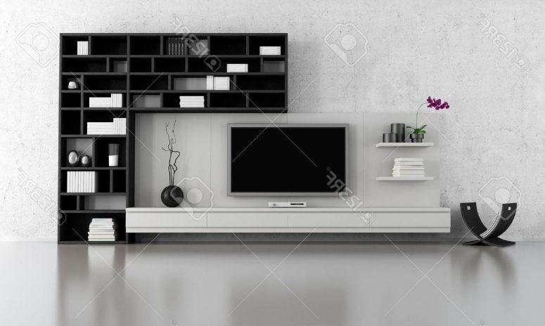 Brilliant Variety Of White And Black TV Stands Within Creative Tv Stand Ideas Brown Varnished Wood Tv Wallpaper Creamy (Image 15 of 50)