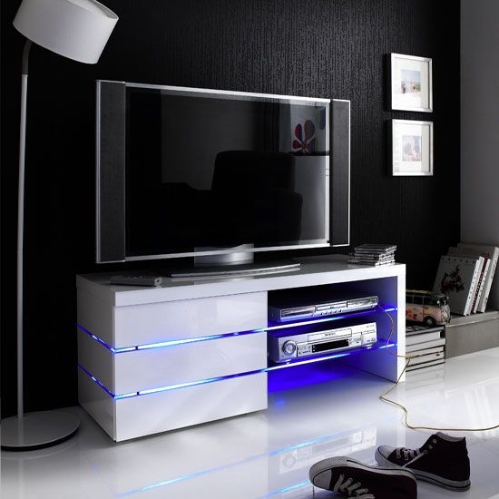 Brilliant Variety Of White Glass TV Stands With Sonia White High Gloss Tv Stand With Led Lights And Glass Stuff (Image 18 of 50)