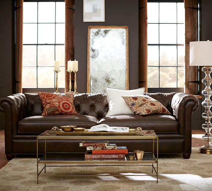 Brilliant Well Known Antique Glass Pottery Barn Coffee Tables With Chesterfield Leather Sofa Pottery Barn (Image 14 of 50)