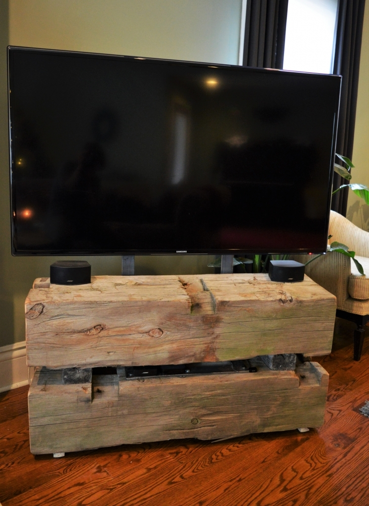 Brilliant Wellknown Beam Through TV Stands Intended For Loveles Salvaged Barn Boardbeam Tv Stand Wilkins Design (View 17 of 50)