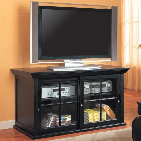 Brilliant Wellknown Black Corner TV Cabinets With Glass Doors Intended For Tv Cabinets With Glass Doors (Image 9 of 50)