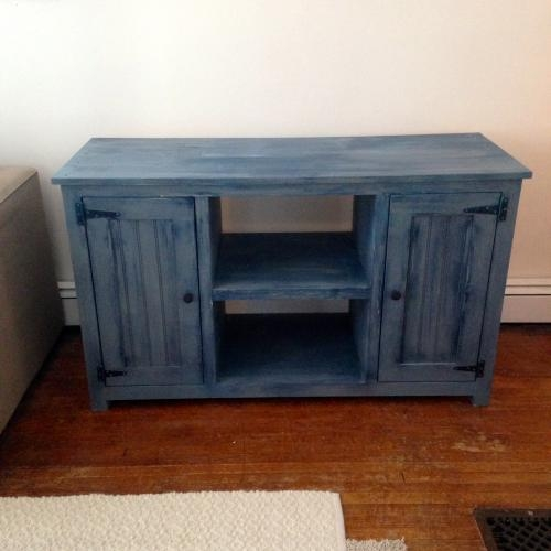 Brilliant Well Known Blue TV Stands Within Painted Tv Stand Forget Them Not Home Decor (Image 12 of 50)