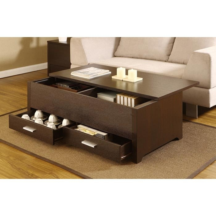 Brilliant Well Known Dark Wood Coffee Table Storages Intended For Classic Coffee Table Ottoman Storage (Image 11 of 50)