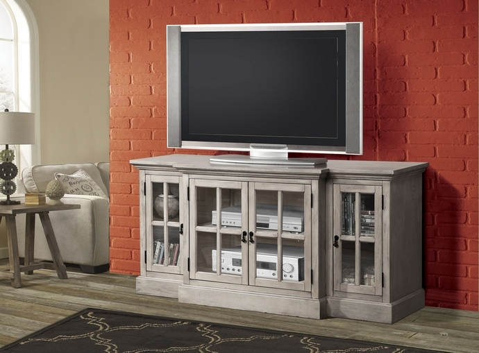Brilliant Well Known Glass Front TV Stands Intended For Julian Collection Sand (Image 14 of 50)