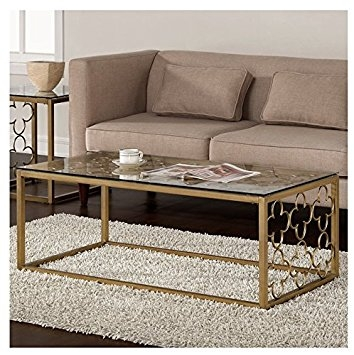 Brilliant Wellknown Metal And Glass Coffee Tables Within Amazon Quatrefoil Goldtone Metal And Glass Coffee Table (View 31 of 50)