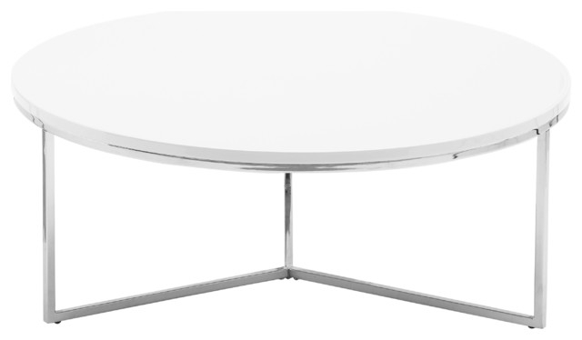 Brilliant Well Known Oval White Coffee Tables Throughout Armani Round Coffee Table Glossy White Contemporary Coffee (Image 13 of 50)