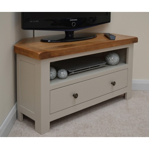 Brilliant Wellknown Small Oak Corner TV Stands Intended For Stone Grey Oak Corner Tv Stand Entertainment Unit (View 4 of 50)