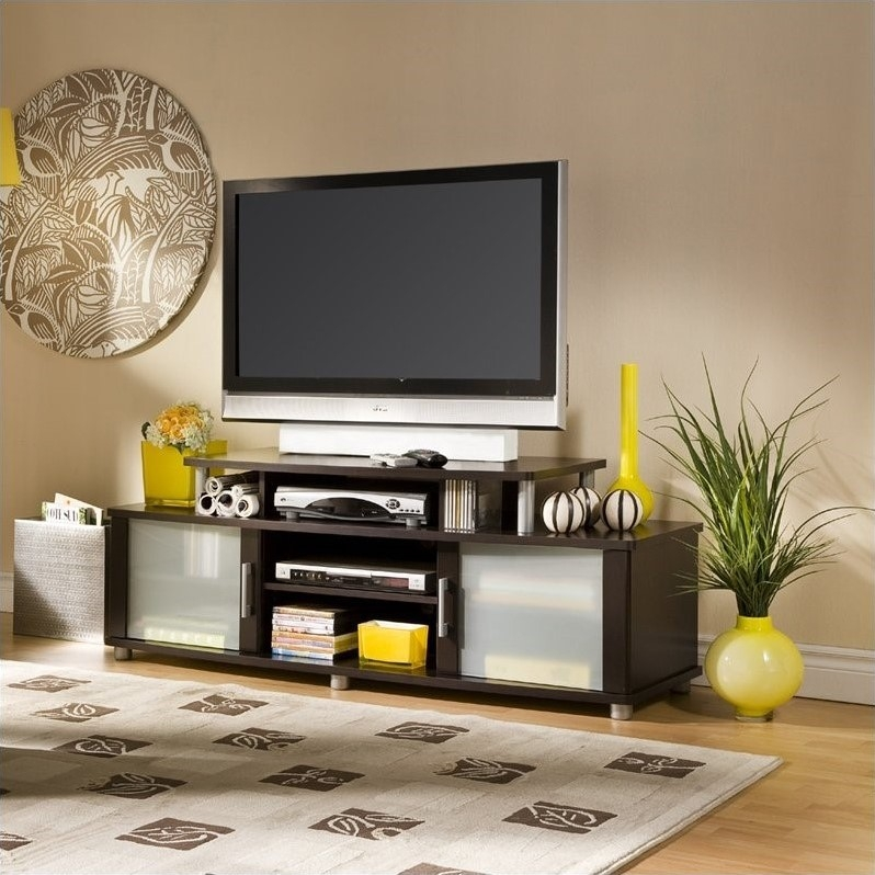 Brilliant Wellknown Square TV Stands Inside South Shore City Life Lcd Tv Stand In Chocolate Finish (View 41 of 50)