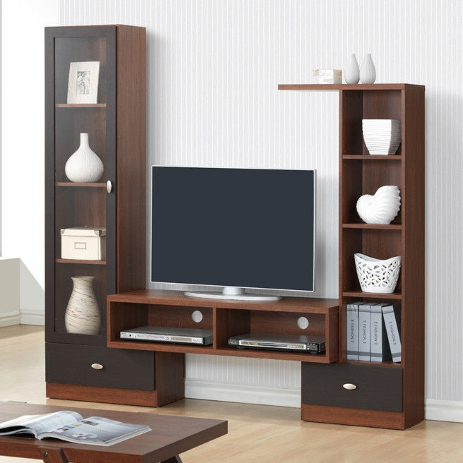 Brilliant Well Known TV Stand Wall Units With Tv Stand Wall Unit Glass Door Storage Shelves Drawers (Image 14 of 50)