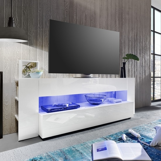 Brilliant Well Known TV Stands With LED Lights Throughout Vista Tv Stand In White With High Gloss Fronts And Led (Image 10 of 50)