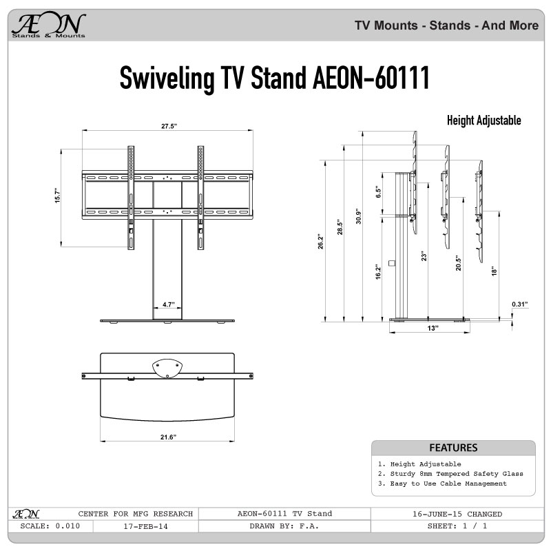 Brilliant Wellknown Wall Mount Adjustable TV Stands Throughout Universal Tabletop Tv Stand Swivel Height Adjustment Av (Image 17 of 50)
