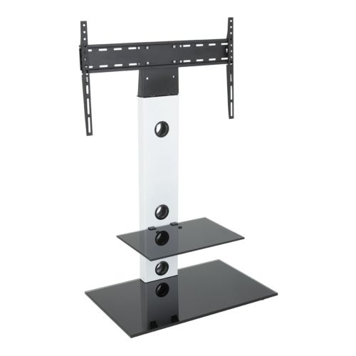 Brilliant Wellknown White Cantilever TV Stands Within Satin White Cantilever Tv Stand With Lcd Led Tv Wall Bracket For (Image 9 of 50)