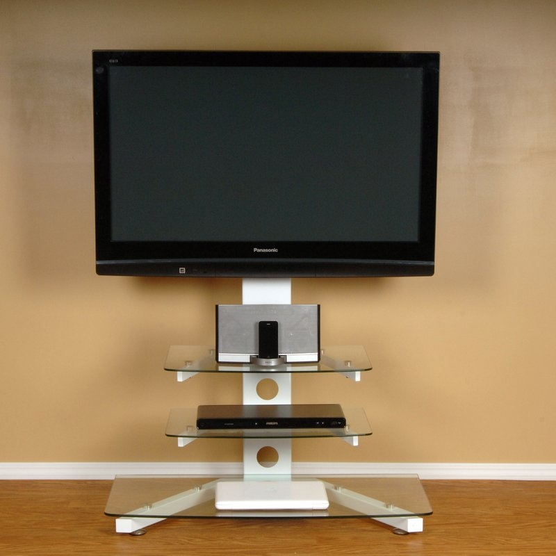 Brilliant Wellliked 44 Swivel Black Glass TV Stands Regarding Flat Panel Mount Tv Stands Youll Love Wayfair (Image 12 of 50)