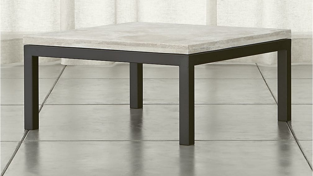 Brilliant Wellliked Dark Coffee Tables Intended For Parsons Travertine Top Dark Steel Base 36×36 Square Coffee Table (Image 15 of 50)