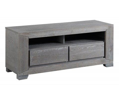 Brilliant Wellliked Grey Wood TV Stands Throughout Gray French Oak Tv Stand Unit With 2 Drawers And Shelves (Image 14 of 50)
