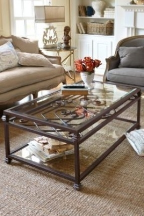 Brilliant Wellliked Iron Glass Coffee Table Pertaining To Wrought Iron And Glass Coffee Tables Foter (Image 14 of 50)