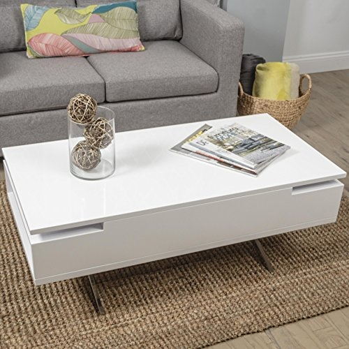 Brilliant Wellliked Lacquer Coffee Tables With Regard To Amazon Stelar White Lacquer Lift Top Rectangular Coffee Table (View 2 of 40)