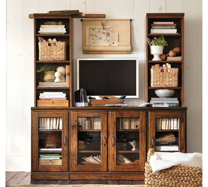 Brilliant Wellliked Large TV Cabinets With Printers Large Tv Stand With Towers Tuscan Chestnut Pottery Barn (View 48 of 50)